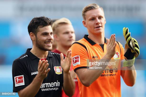 Kevin Volland and goalkeeper Bernd Leno of Leverkusen celebrate after the Bundesliga match between Bayer 04 Leverkusen and SC Freiburg at BayArena on...