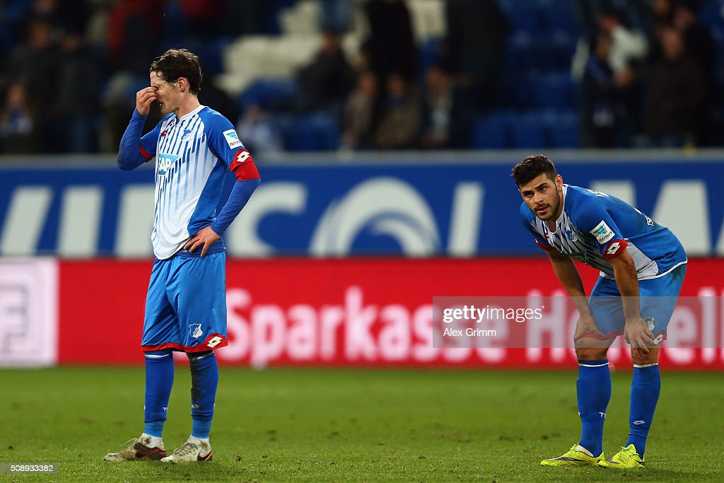 Kevin Volland and Sebastian Rudy of Hoffenheim react after the Bundesliga match between 1899 Hoffenheim and SV Darmstadt 98 at Wirsol...