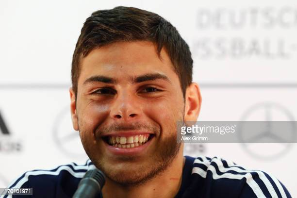 Kevin Volland attends a Germany U21 press conference at Marina Hotel on June 7 2013 in Tel Aviv Israel