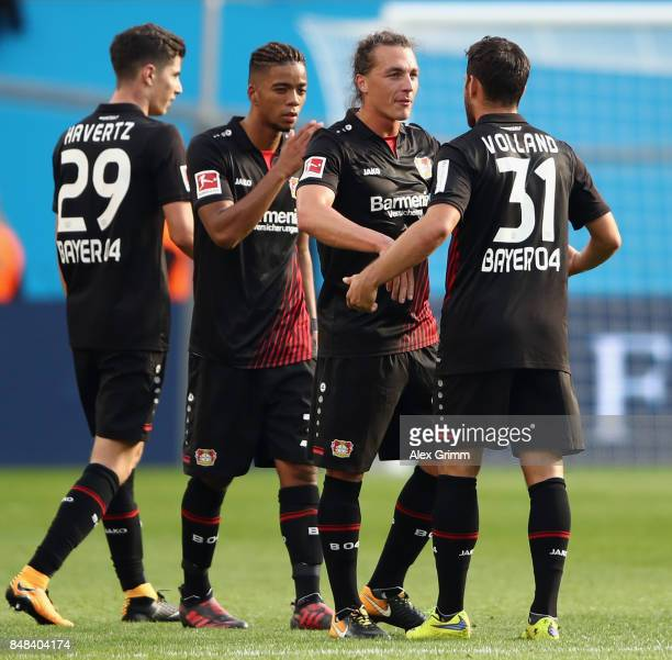 Kevin Volland Julian Baumgartlinger Benjamin Henrichs and Kai Havertz of Leverkusen celebrate after the Bundesliga match between Bayer 04 Leverkusen...