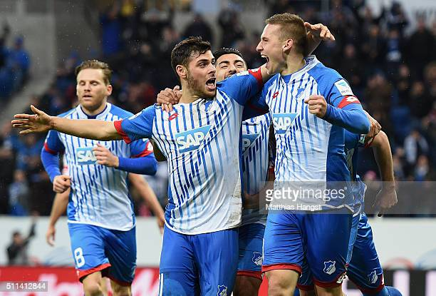 Kevin Volland Mark Uth and Pavel Kaderabek of Hoffenheim celebrate after the third goal during the Bundesliga match between 1899 Hoffenheim and 1 FSV...