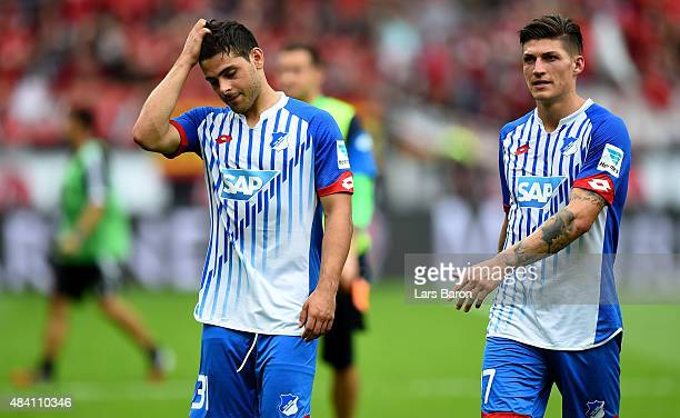 Kevin Volland nad Steven Zuber of Hoffenheim are looking dejected after loosing the Bundesliga match between Bayer Leverkusen and 1899 Hoffenheim at...
