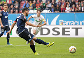 Kevin Volland of 1899 Hoffenheim scores a penalty goal during the Bundesliga match between FC Augsburg and 1899 Hoffenheim at WWKArena on September...