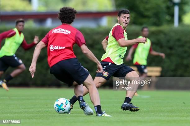 Kevin Volland of Bayer 04 Leverkusen and Andre Ramalho of Bayer 04 Leverkusen battle for the ball during the Training Camp of Bayer 04 Leverkusen on...