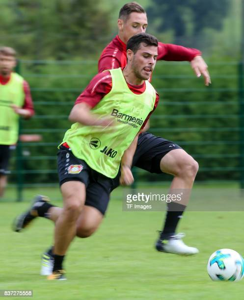 Kevin Volland of Bayer 04 Leverkusen and Dominik Kohr of Bayer 04 Leverkusen battle for the ball feature during the Training Camp of Bayer 04...