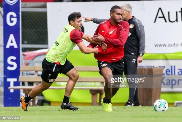 Kevin Volland of Bayer 04 Leverkusen and Jonathan Tah of Bayer 04 Leverkusen battle for the ball during the Training Camp of Bayer 04 Leverkusen on...
