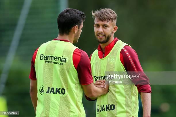 Kevin Volland of Bayer 04 Leverkusen and Vladlen Yurchenko of Bayer 04 Leverkusen looks on during the Training Camp of Bayer 04 Leverkusen on July 25...