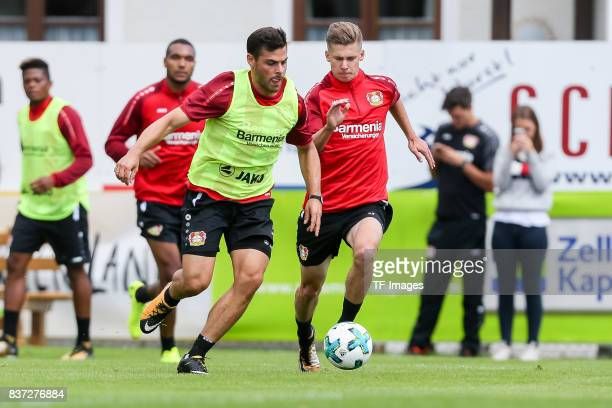 Kevin Volland of Bayer 04 Leverkusen battle for the ball during the Training Camp of Bayer 04 Leverkusen on July 25 2017 in Zell am Ziller Austria