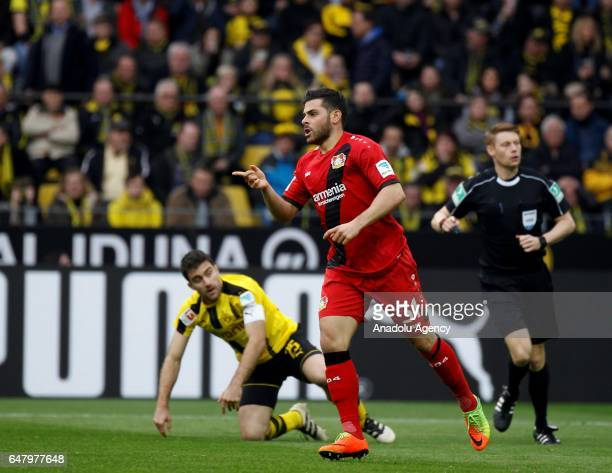 Kevin Volland of Bayer 04 Leverkusen celebrates after scoring a goal during the Bundesliga soccer match between Borussia Dortmund and Bayer 04...