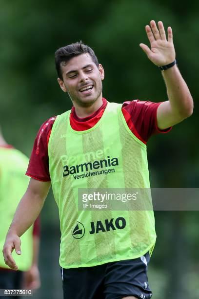 Kevin Volland of Bayer 04 Leverkusen gestures during the Training Camp of Bayer 04 Leverkusen on July 25 2017 in Zell am Ziller Austria
