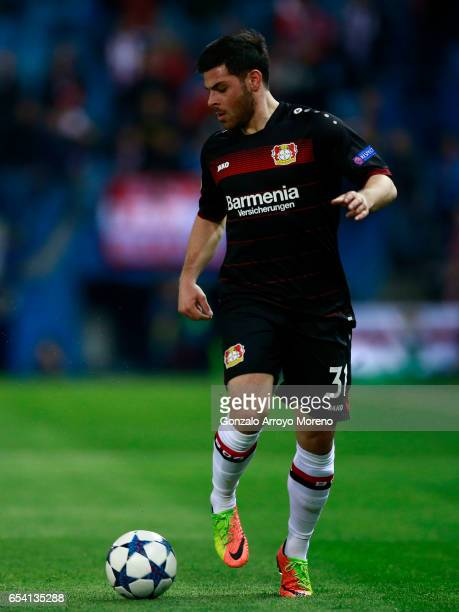 Kevin Volland of Bayer Leverkusen controls the ball during the UEFA Champions League Round of 16 second leg match between Club Atletico de Madrid and...
