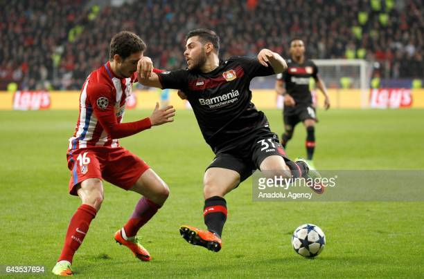 Kevin Volland of Bayer Leverkusen in action against Sime Vrsaljko of Atletico Madrid during the UEFA Champions League round of sixteen soccer match...