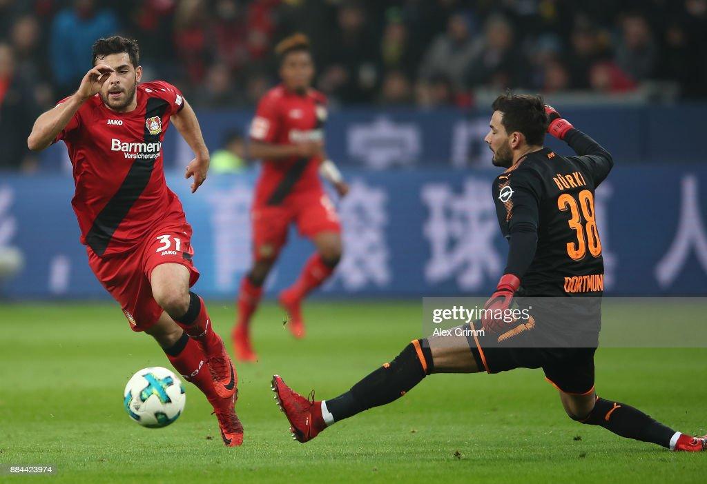 Kevin Volland of Bayer Leverkusen (l) passes Roman Buerki of Dortmund to score a goal to make it 1:0 during the Bundesliga match between Bayer 04 Leverkusen and Borussia Dortmund at BayArena on December 2, 2017 in Leverkusen, Germany.
