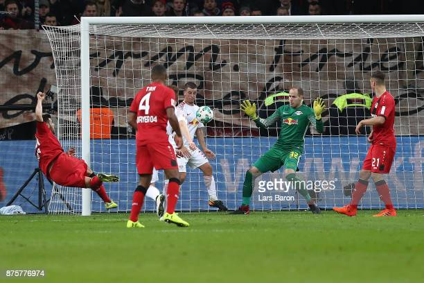 Kevin Volland of Bayer Leverkusen scores a goal to make it 22 during the Bundesliga match between Bayer 04 Leverkusen and RB Leipzig at BayArena on...