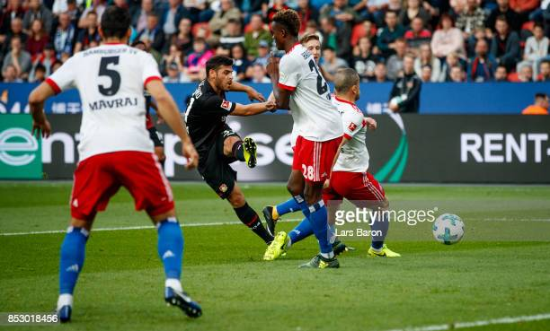 Kevin Volland of Bayer Leverkusen scores his teams first goal during the Bundesliga match between Bayer 04 Leverkusen and Hamburger SV at BayArena on...