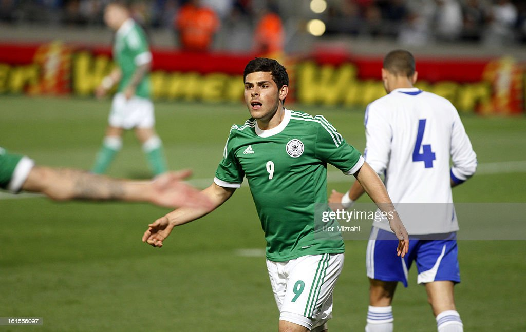 <a gi-track='captionPersonalityLinkClicked' href=/galleries/search?phrase=Kevin+Volland&family=editorial&specificpeople=6001755 ng-click='$event.stopPropagation()'>Kevin Volland</a> of Germany celebrates after scoring a goal during the Under 21 International Friendly match between Israel and Germany on March 24, 2013 in Tel Aviv , Israel.