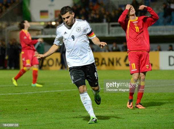 Kevin Volland of Germany celebrates after scoring his team's second goal during the U21 Euro qualifier group 6 match between Germany and Republic of...