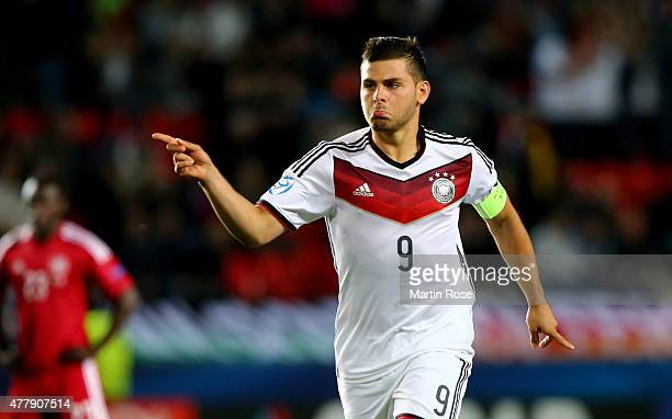 Kevin Volland of Germany celebrates after scoring the 2nd goal during the UEFA European Under21 Group A match between Germany and Denmark at Eden...