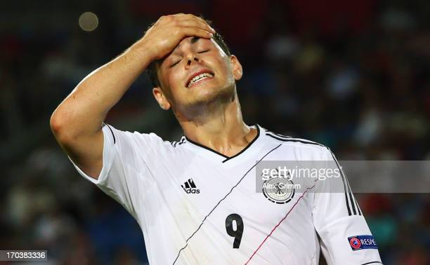 Kevin Volland of Germany reacts during the UEFA European U21 Championship Group B match between Russia and Germany at Netanya Stadium on June 12 2013...