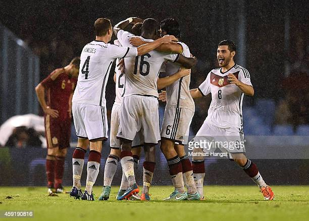 Kevin Volland of Germany runs to join his teammates as they celebrate their goal with goal scorer Toni Kroos of Germany during the International...