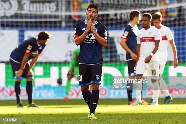 Kevin Volland of Hoffenheim and team mates react after the Bundesliga match between 1899 Hoffenheim and VfB Stuttgart at Wirsol RheinNeckarArena on...