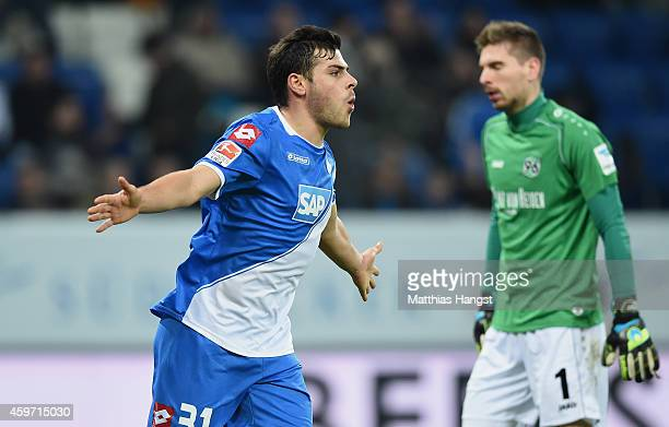 Kevin Volland of Hoffenheim celebrates after scoring his team's second goal during the Bundesliga match between 1899 Hoffenheim and Hannover 96 at...
