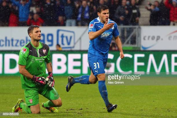 Kevin Volland of Hoffenheim celebrates his team's second goal as goalkeeper Sven Ulreich of Stuttgart reacts during the Bundesliga match between 1899...