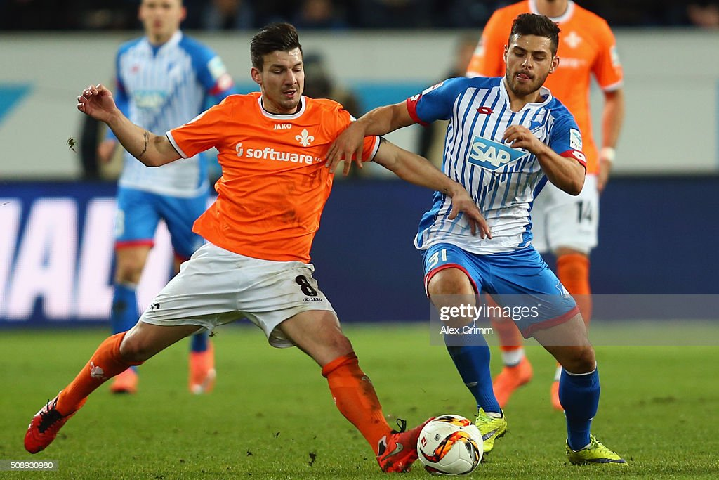 <a gi-track='captionPersonalityLinkClicked' href=/galleries/search?phrase=Kevin+Volland&family=editorial&specificpeople=6001755 ng-click='$event.stopPropagation()'>Kevin Volland</a> (R) of Hoffenheim is challenged by Jerome Gondorf of Darmstadt during the Bundesliga match between 1899 Hoffenheim and SV Darmstadt 98 at Wirsol Rhein-Neckar-Arena on February 7, 2016 in Sinsheim, Germany.