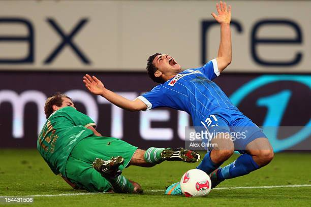 Kevin Volland of Hoffenheim is challenged by Thomas Kleine of Greuther Fuerth during the Bundesliga match between 1899 Hoffenheim and SpVgg Greuther...