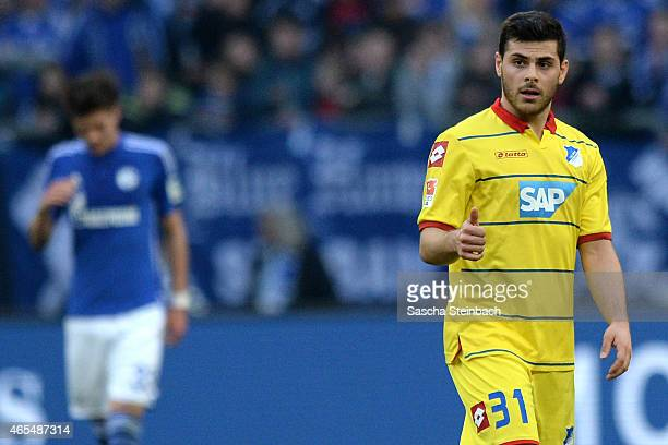 Kevin Volland of Hoffenheim reacts after scoring his team's first goal during the Bundesliga match between FC Schalke 04 and 1899 Hoffenheim at...