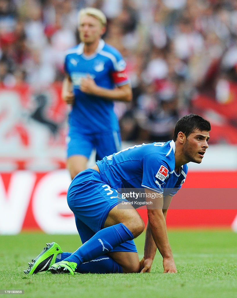 Kevin Volland of Hoffenheim reacts during the Bundesliga match between VfB Stuttgart and 1899 Hoffenheim at Mercedes-Benz Arena on September 1, 2013 in Stuttgart, Germany.