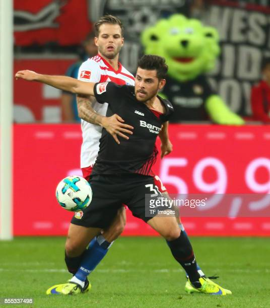 Kevin Volland of Leverkusen and Dennis Diekmeier of Hamburg battle for the ball during the Bundesliga match between Bayer 04 Leverkusen and Hamburger...