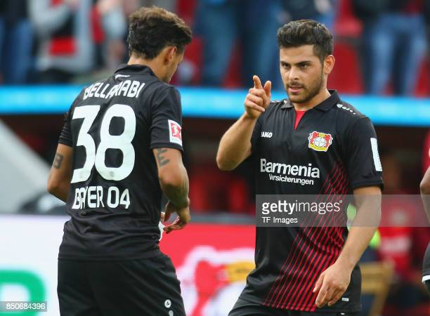 Kevin Volland of Leverkusen and Karim Bellarabi of Leverkusen celebrate a goal during the Bundesliga match between Bayer 04 Leverkusen and SC...