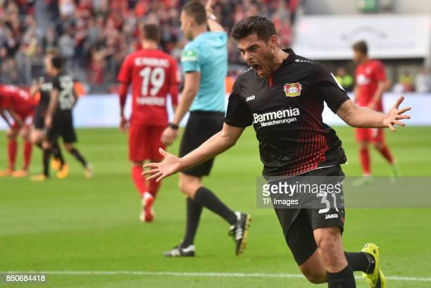 Kevin Volland of Leverkusen celebrate a goal during the Bundesliga match between Bayer 04 Leverkusen and SC Freiburg at BayArena on September 17 2017...