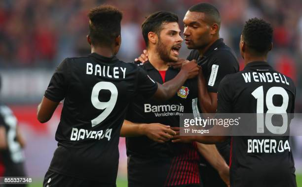 Kevin Volland of Leverkusen celebrates after scoring his team`s first goal during the Bundesliga match between Bayer 04 Leverkusen and Hamburger SV...