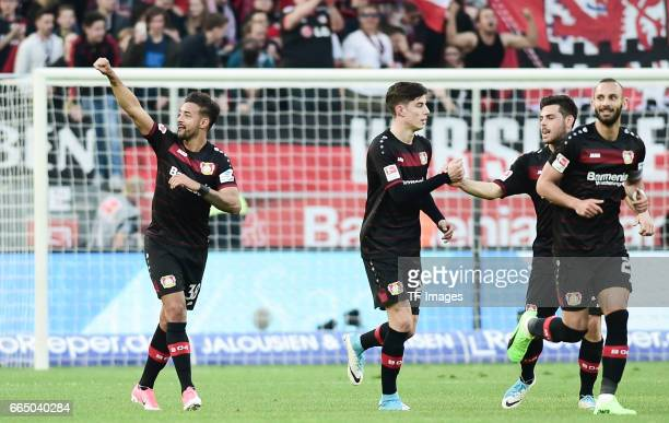 Kevin Volland of Leverkusen celebrates his goal with his team during the Bundesliga match between Bayer 04 Leverkusen and VfL Wolfsburg at BayArena...