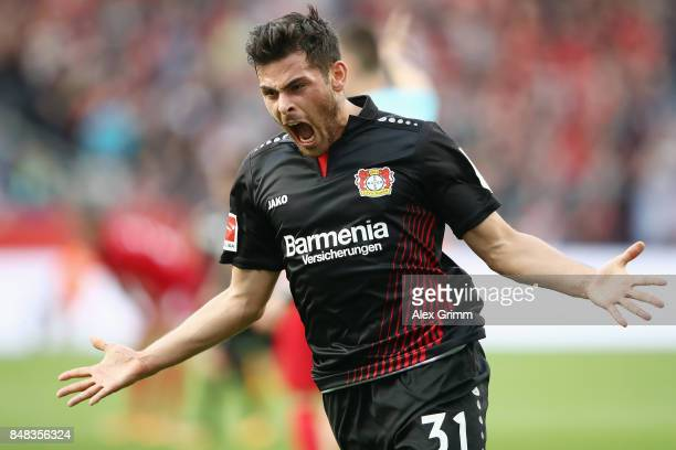 Kevin Volland of Leverkusen celebrates his team's first goal during the Bundesliga match between Bayer 04 Leverkusen and SC Freiburg at BayArena on...