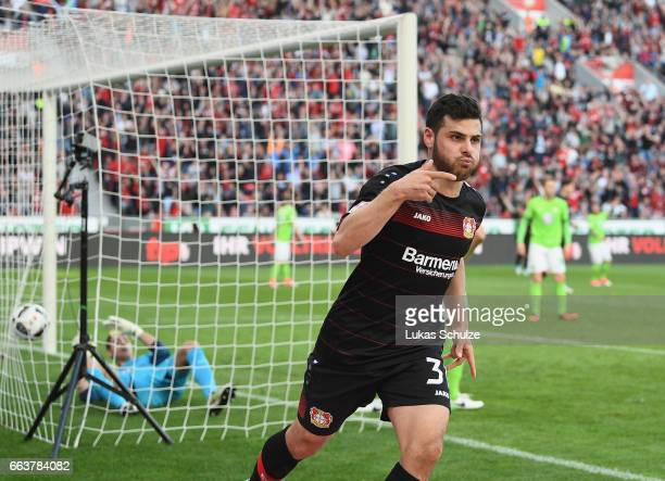 Kevin Volland of Leverkusen celebrates scoring the second goal during the Bundesliga match between Bayer 04 Leverkusen and VfL Wolfsburg at BayArena...