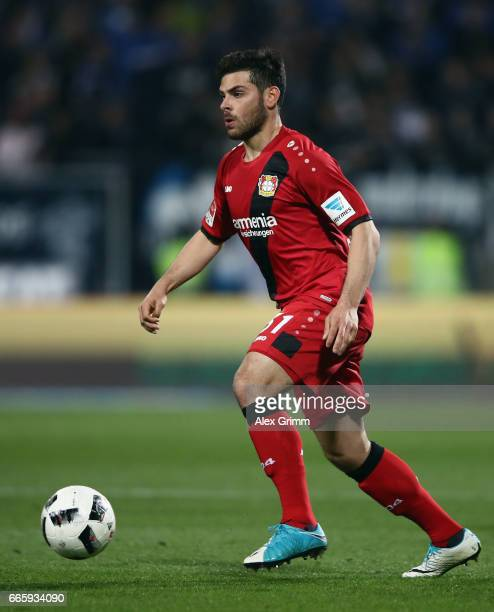 Kevin Volland of Leverkusen controles the ball during the Bundesliga match between SV Darmstadt 98 and Bayer 04 Leverkusen at Jonathan Heimes Stadion...