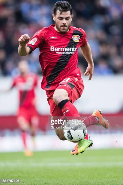 Kevin Volland of Leverkusen controls the ball during the Bundesliga match between TSG 1899 Hoffenheim and Bayer 04 Leverkusen at Wirsol...