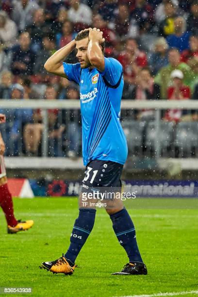 Kevin Volland of Leverkusen controls the ball during the Bundesliga match between FC Bayern Muenchen and Bayer 04 Leverkusen at Allianz Arena on...