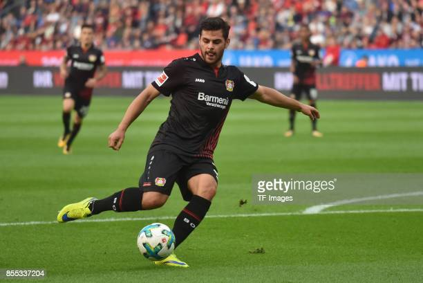 Kevin Volland of Leverkusen controls the ball during the Bundesliga match between Bayer 04 Leverkusen and Hamburger SV at BayArena on September 24...
