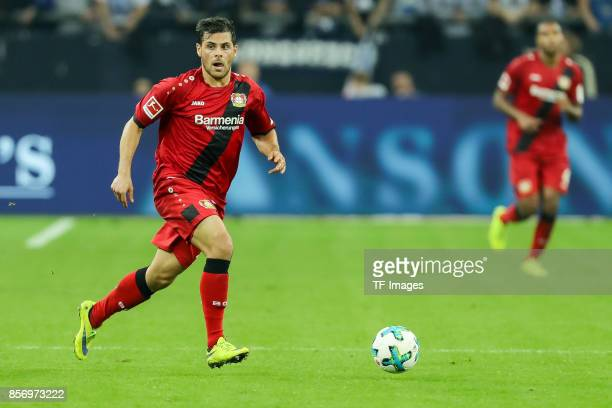 Kevin Volland of Leverkusen controls the ball during the Bundesliga match between FC Schalke 04 and Bayer 04 Leverkusen at VeltinsArena on September...