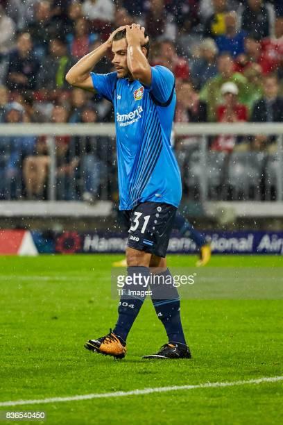 Kevin Volland of Leverkusen gestures during the Bundesliga match between FC Bayern Muenchen and Bayer 04 Leverkusen at Allianz Arena on August 18...