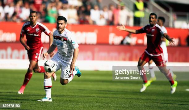 Kevin Volland of Leverkusen in action during the Bundesliga match between FC Ingolstadt 04 and Bayer 04 Leverkusen at Audi Sportpark on May 6 2017 in...