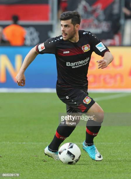 Kevin Volland of Leverkusen in action during the Bundesliga match between Bayer 04 Leverkusen and VfL Wolfsburg at BayArena on April 2 2017 in...