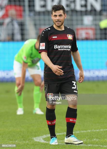 Kevin Volland of Leverkusen looks on during the Bundesliga match between Bayer 04 Leverkusen and VfL Wolfsburg at BayArena on April 2 2017 in...