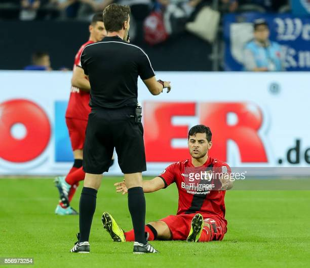 Kevin Volland of Leverkusen on the groundduring the Bundesliga match between FC Schalke 04 and Bayer 04 Leverkusen at VeltinsArena on September 29...