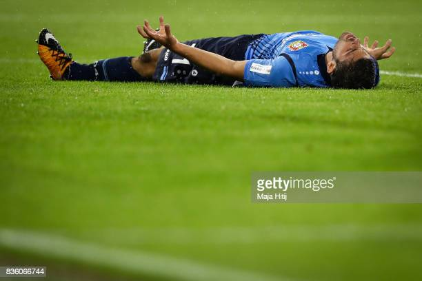 Kevin Volland of Leverkusen reacts during the Bundesliga match between FC Bayern Muenchen and Bayer 04 Leverkusen at Allianz Arena on August 18 2017...