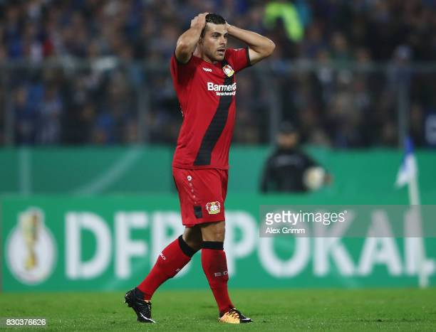 Kevin Volland of Leverkusen reacts during the DFB Cup first round match between Karlsruher SC and Bayer Leverkusen at Wildparkstadion on August 11...